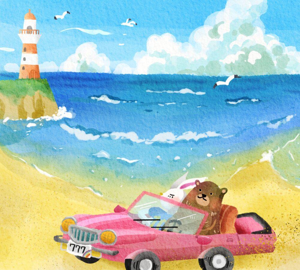 夏のイラスト海とクマとウサギ